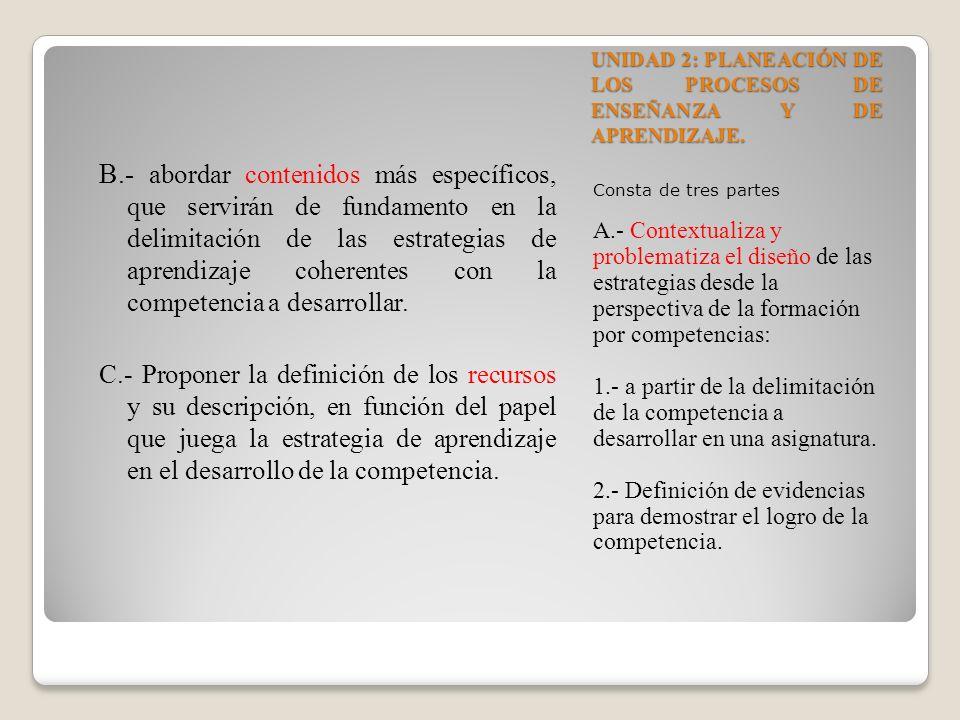 UNIDAD 2: PLANEACIÓN DE LOS PROCESOS DE ENSEÑANZA Y DE APRENDIZAJE. Consta de tres partes A.- Contextualiza y problematiza el diseño de las estrategia