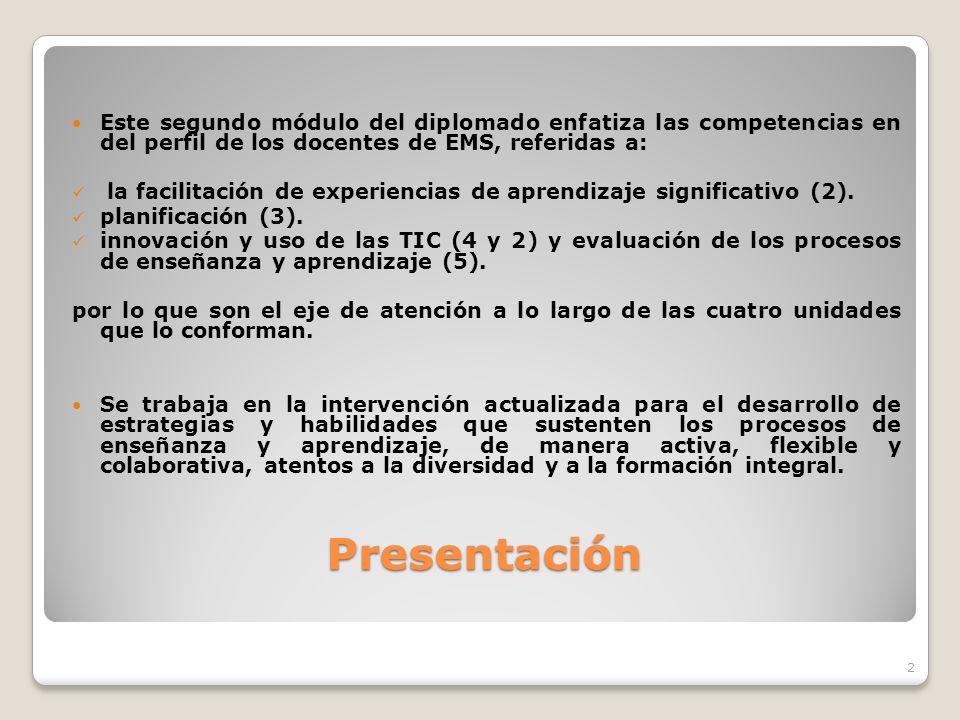 Presentación Presentación Este segundo módulo del diplomado enfatiza las competencias en del perfil de los docentes de EMS, referidas a: la facilitaci