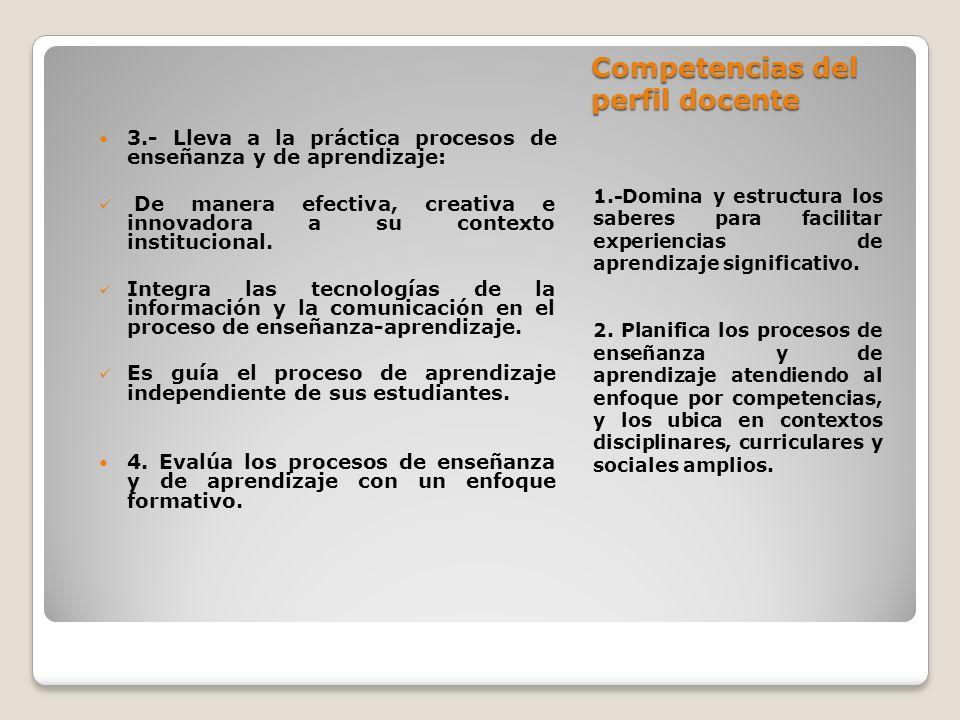 Competencias del perfil docente 1.-Domina y estructura los saberes para facilitar experiencias de aprendizaje significativo. 2. Planifica los procesos