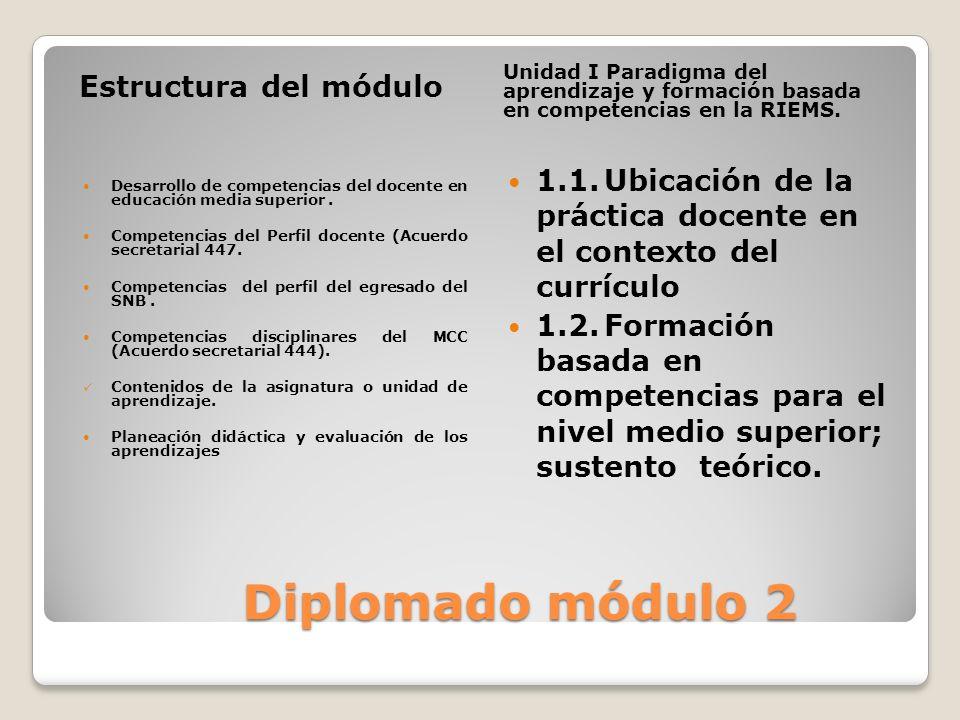 Diplomado módulo 2 Diplomado módulo 2 Estructura del módulo Unidad I Paradigma del aprendizaje y formación basada en competencias en la RIEMS. Desarro