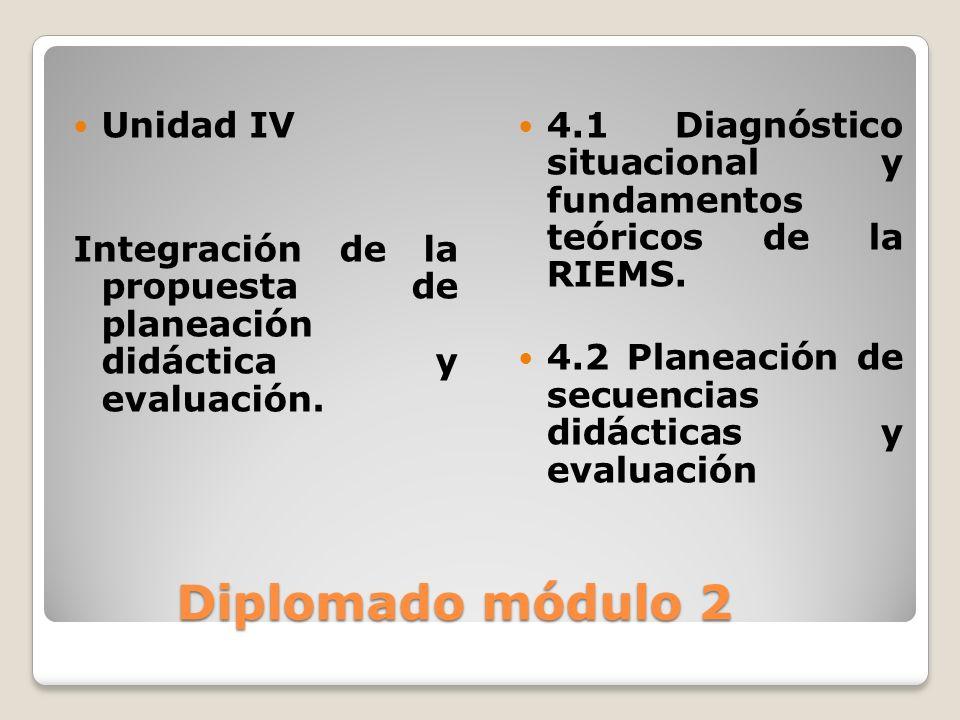 Diplomado módulo 2 Diplomado módulo 2 Unidad IV Integración de la propuesta de planeación didáctica y evaluación. 4.1 Diagnóstico situacional y fundam