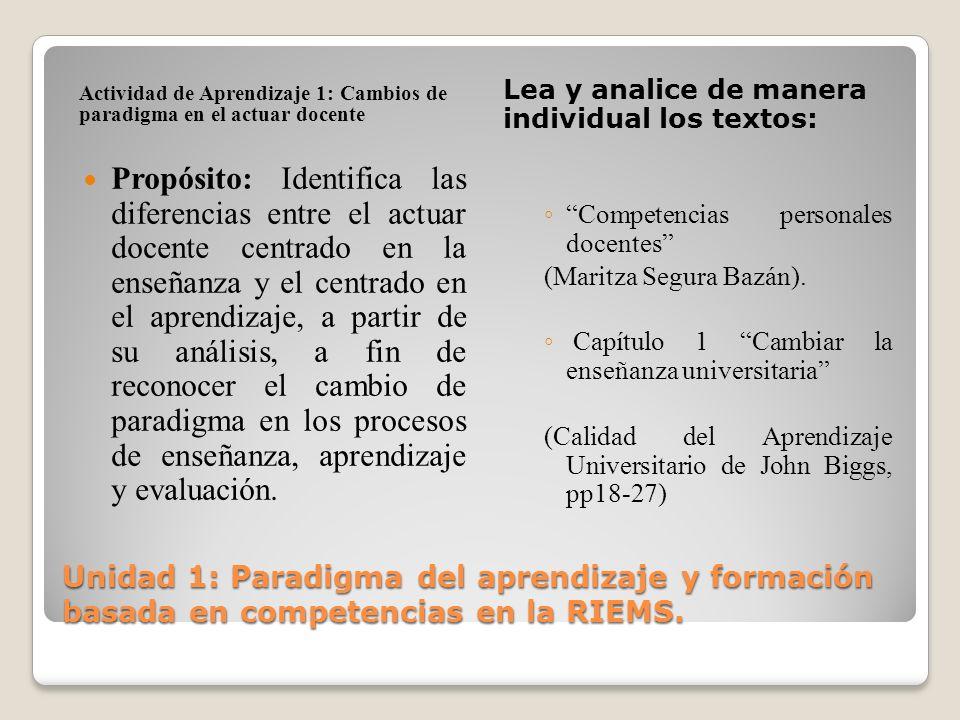 Unidad 1: Paradigma del aprendizaje y formación basada en competencias en la RIEMS. Actividad de Aprendizaje 1: Cambios de paradigma en el actuar doce