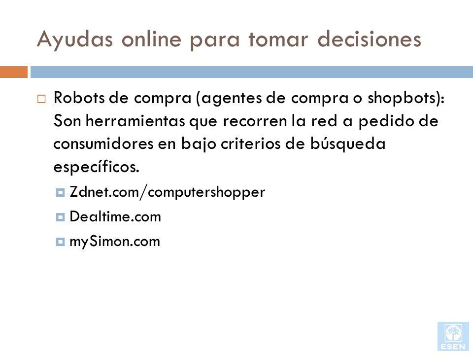Ayudas online para tomar decisiones Robots de compra (agentes de compra o shopbots): Son herramientas que recorren la red a pedido de consumidores en