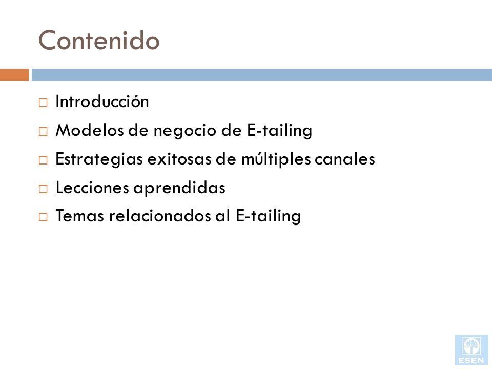 Contenido Introducción Modelos de negocio de E-tailing Estrategias exitosas de múltiples canales Lecciones aprendidas Temas relacionados al E-tailing