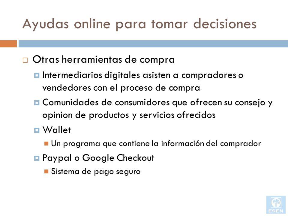 Ayudas online para tomar decisiones Otras herramientas de compra Intermediarios digitales asisten a compradores o vendedores con el proceso de compra