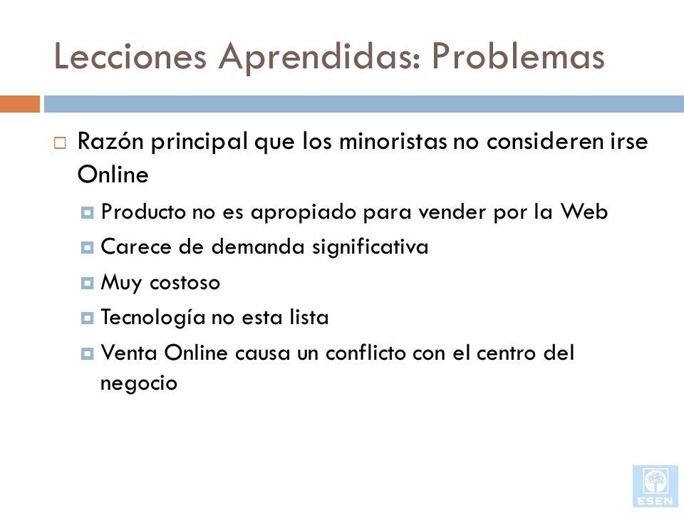Lecciones Aprendidas: Problemas Razón principal que los minoristas no consideren irse Online Producto no es apropiado para vender por la Web Carece de