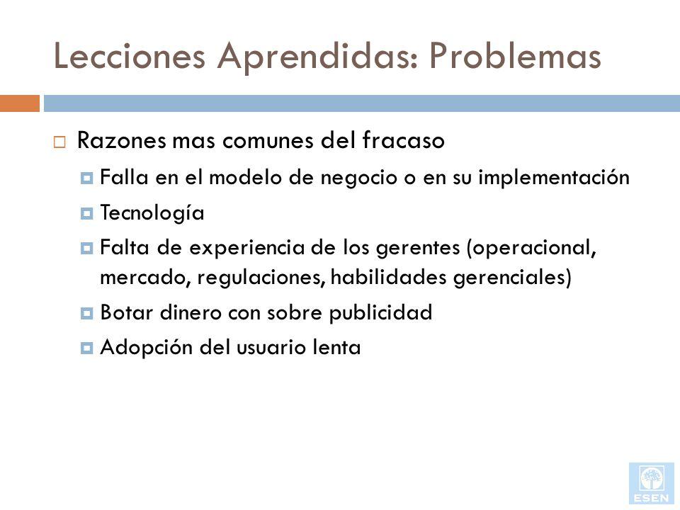 Lecciones Aprendidas: Problemas Razones mas comunes del fracaso Falla en el modelo de negocio o en su implementación Tecnología Falta de experiencia d