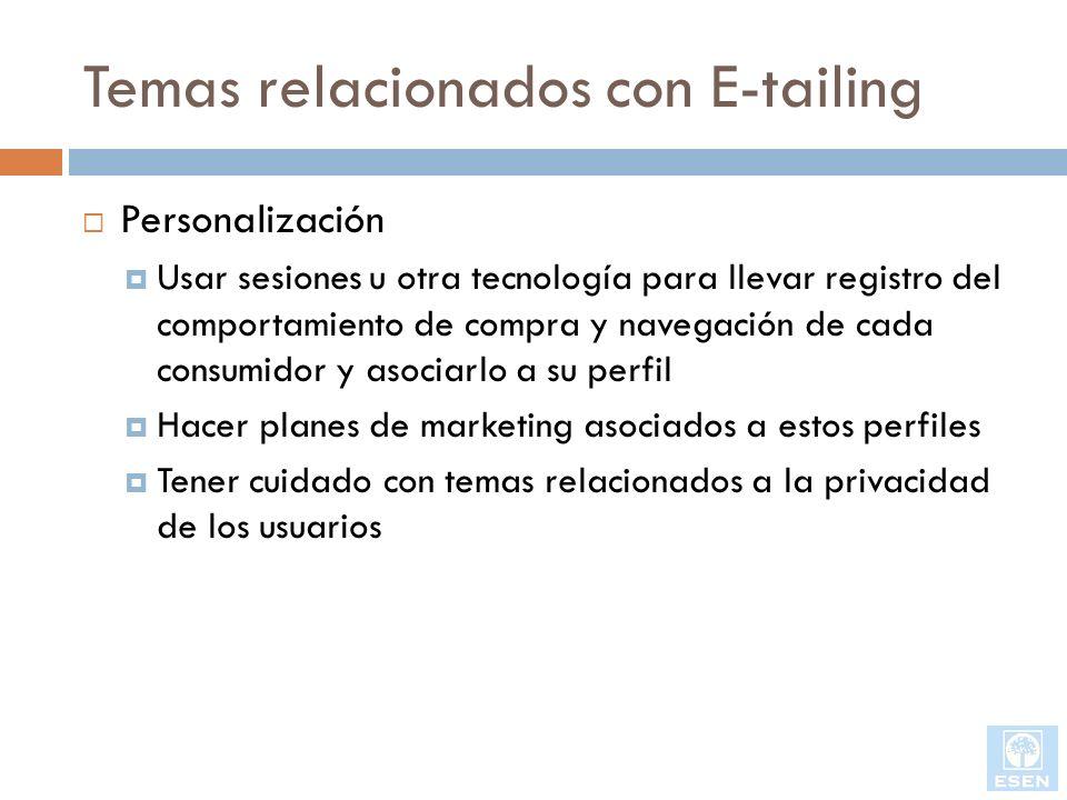 Temas relacionados con E-tailing Personalización Usar sesiones u otra tecnología para llevar registro del comportamiento de compra y navegación de cad
