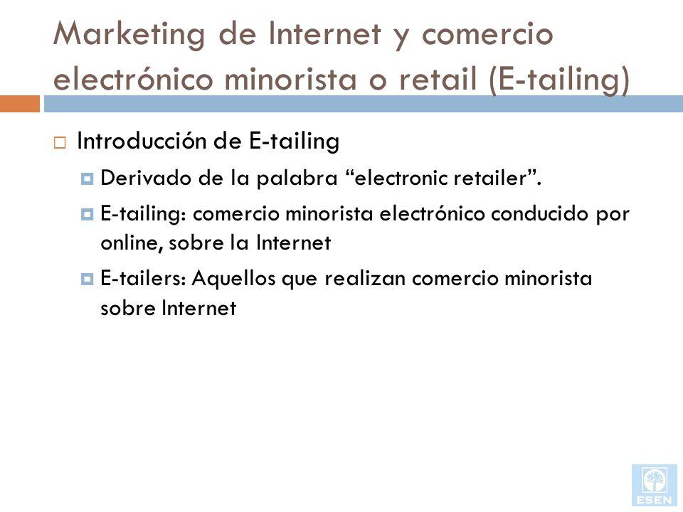 Marketing de Internet y comercio electrónico minorista o retail (E-tailing) Introducción de E-tailing Derivado de la palabra electronic retailer. E-ta