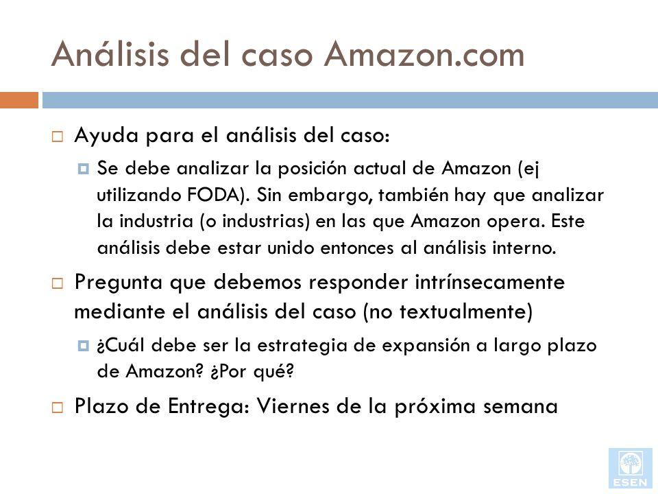 Análisis del caso Amazon.com Ayuda para el análisis del caso: Se debe analizar la posición actual de Amazon (ej utilizando FODA). Sin embargo, también