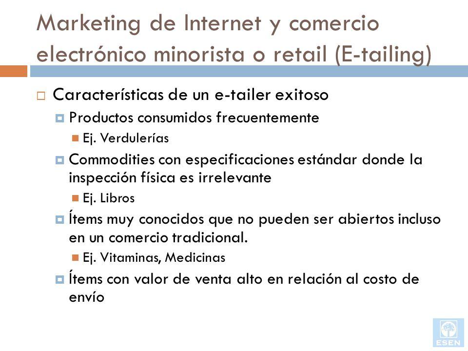 Marketing de Internet y comercio electrónico minorista o retail (E-tailing) Características de un e-tailer exitoso Productos consumidos frecuentemente