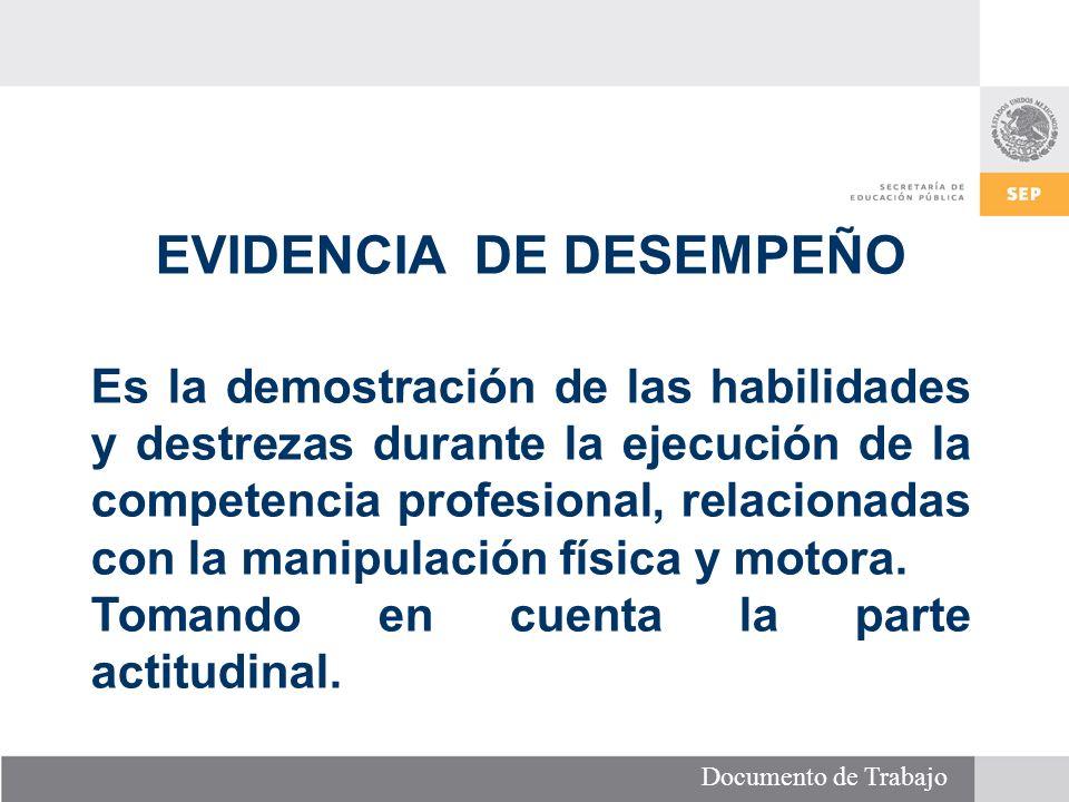 Documento de Trabajo EVIDENCIA DE DESEMPEÑO Es la demostración de las habilidades y destrezas durante la ejecución de la competencia profesional, relacionadas con la manipulación física y motora.