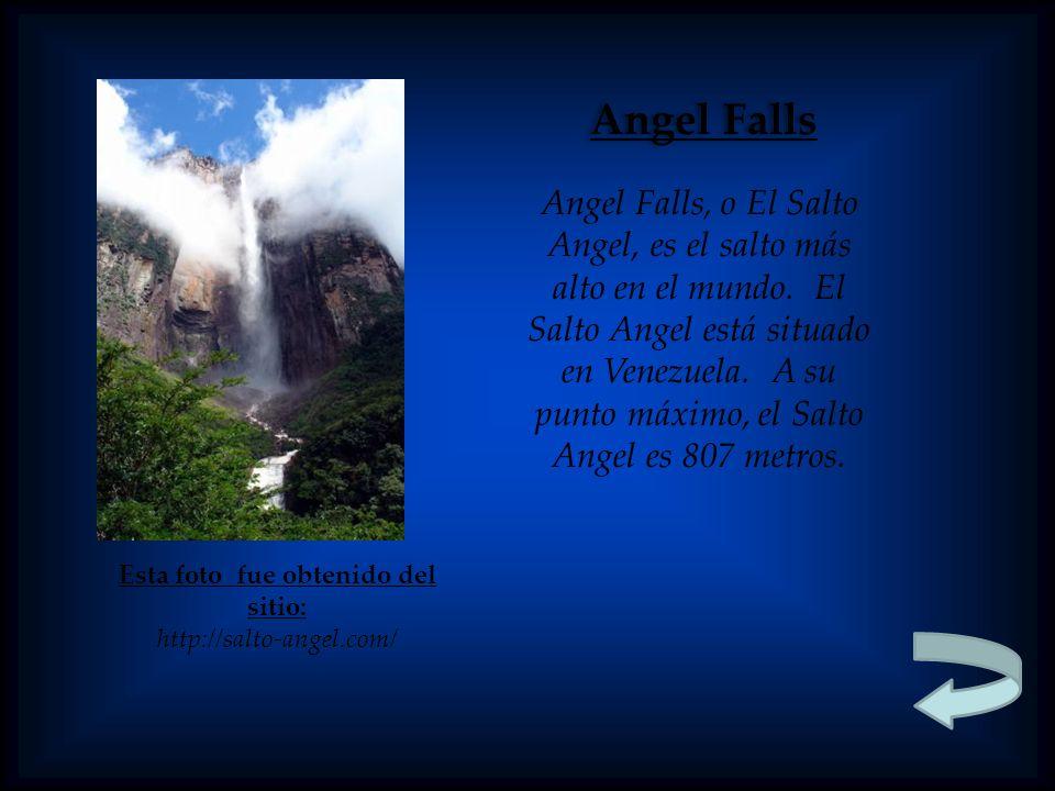 Esta foto fue obtenido del sitio: http://salto-angel.com/ Angel Falls Angel Falls, o El Salto Angel, es el salto más alto en el mundo.