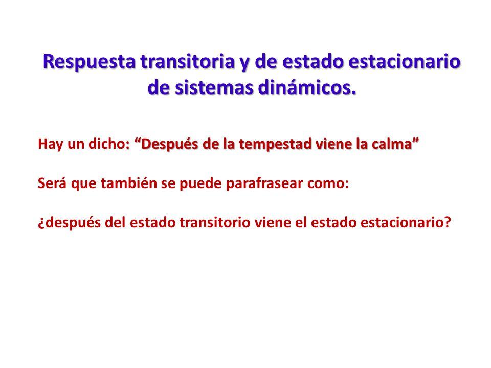 Respuesta transitoria y de estado estacionario de sistemas dinámicos. : Después de la tempestad viene la calma Hay un dicho: Después de la tempestad v