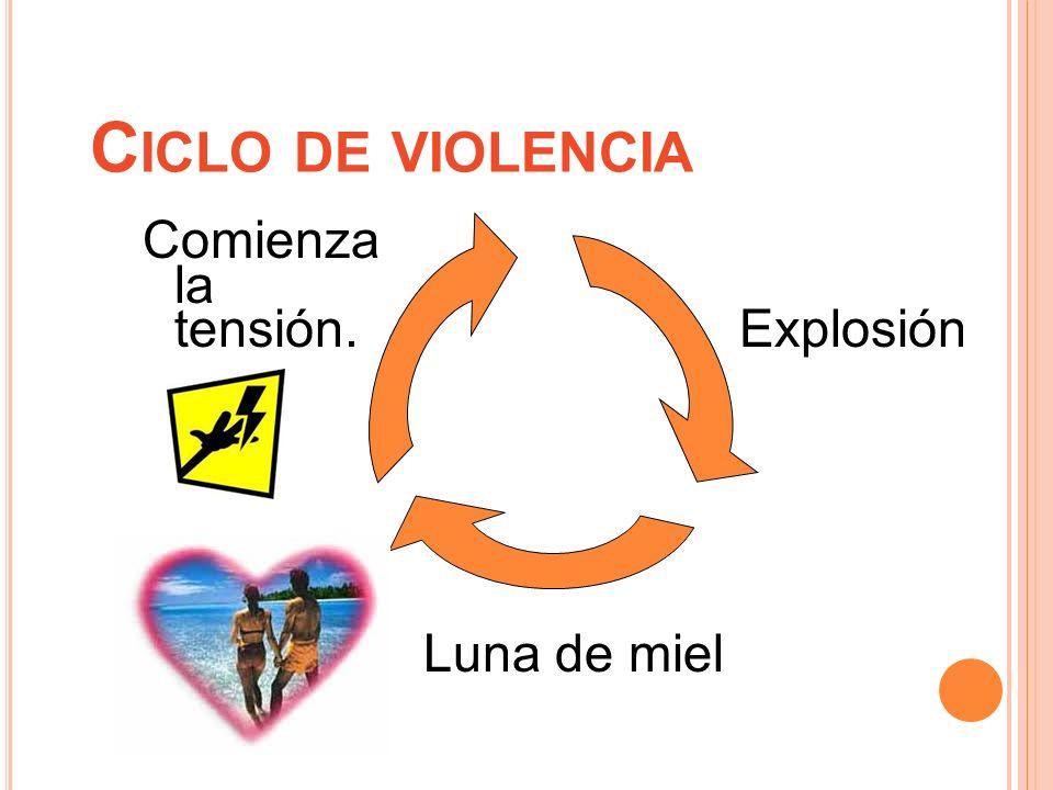 C ICLO DE VIOLENCIA Comienza la tensión. Explosión Luna de miel