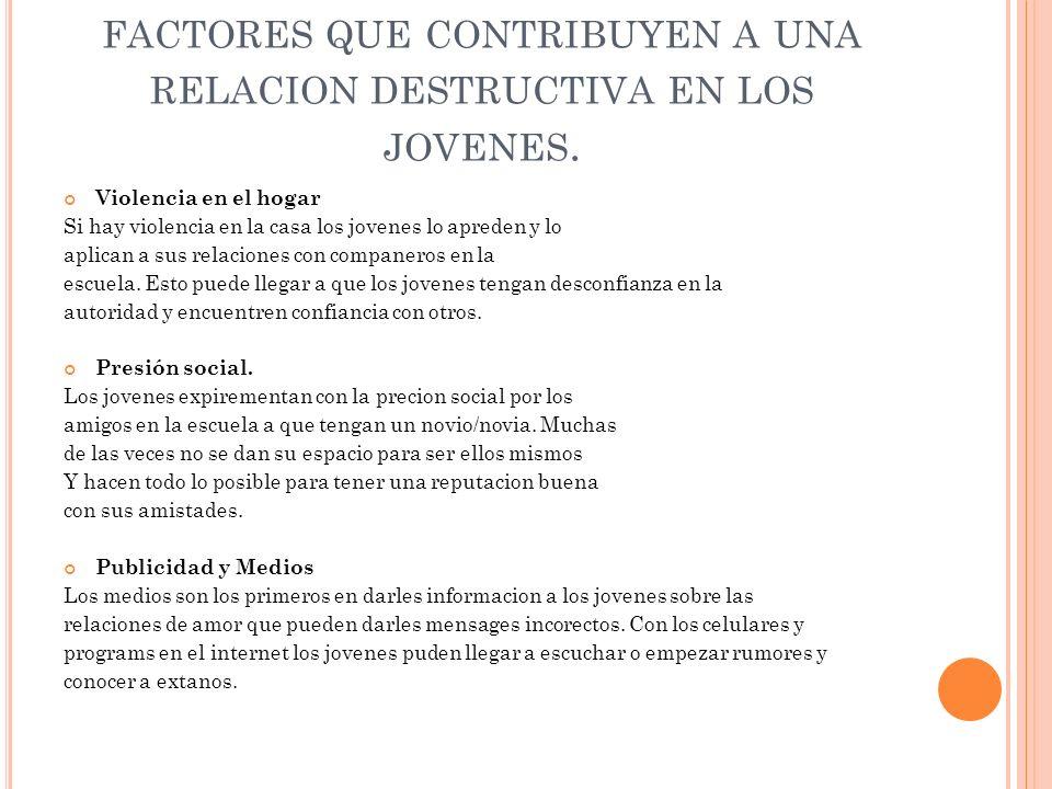 FACTORES QUE CONTRIBUYEN A UNA RELACION DESTRUCTIVA EN LOS JOVENES.
