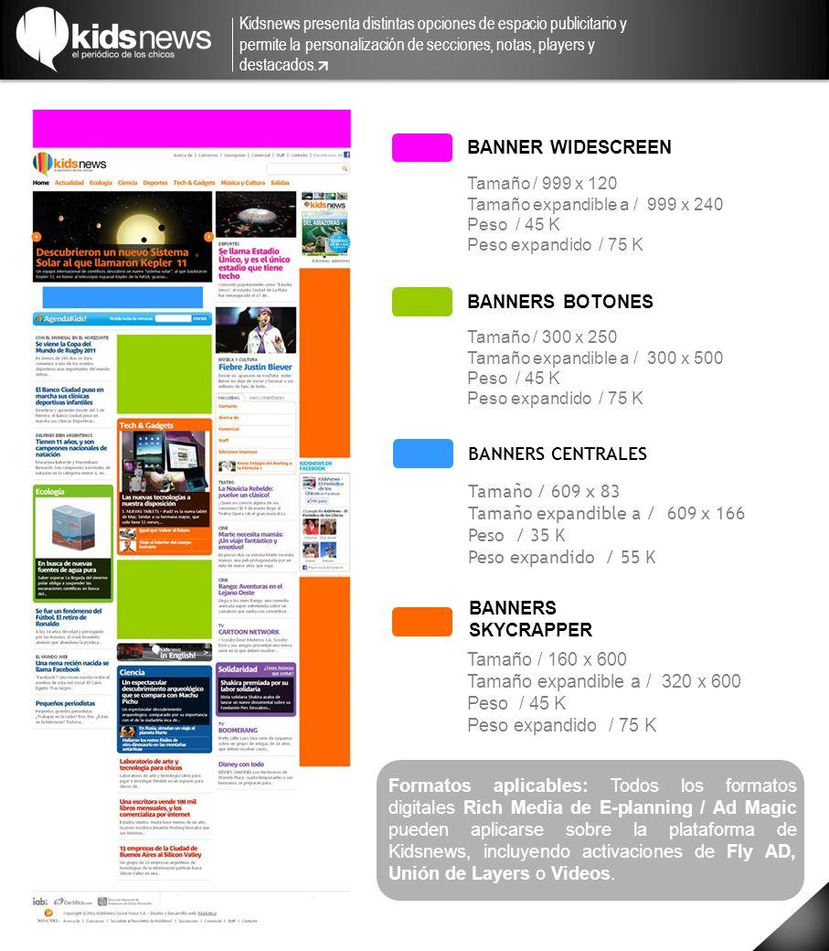 BANNER WIDESCREEN BANNERS SKYCRAPPER BANNERS BOTONES Tamaño / 999 x 120 Tamaño expandible a / 999 x 240 Peso / 45 K Peso expandido / 75 K Tamaño / 300