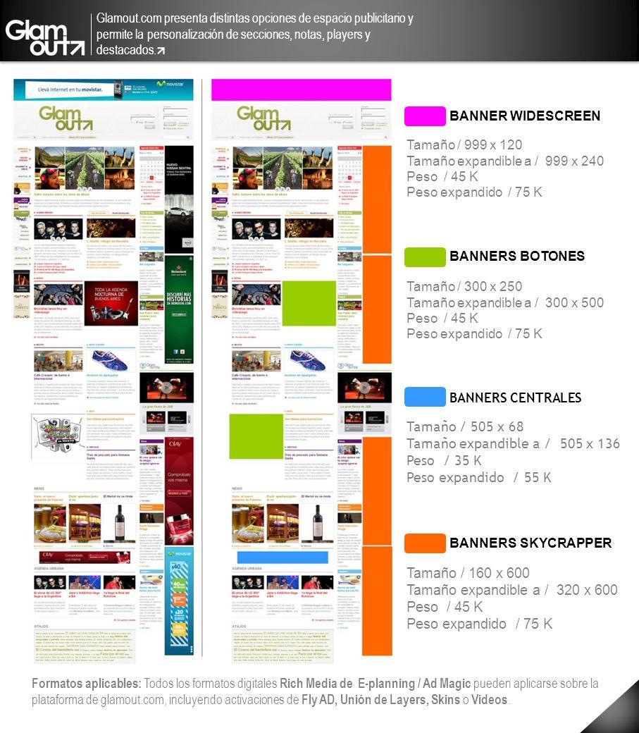 Glamout.com presenta distintas opciones de espacio publicitario y permite la personalización de secciones, notas, players y destacados. BANNER WIDESCR
