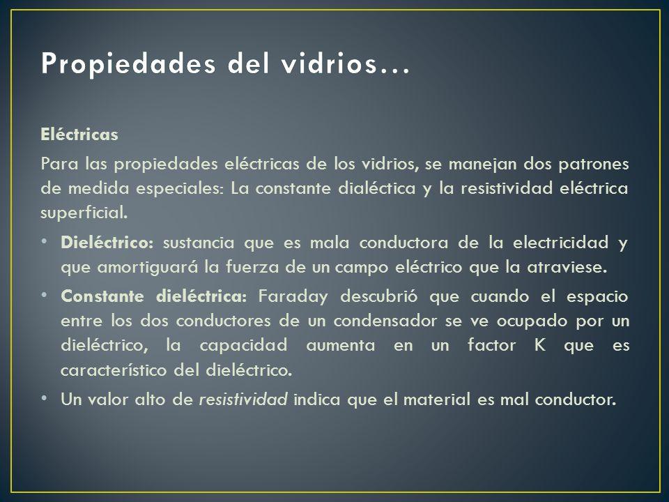 Eléctricas Para las propiedades eléctricas de los vidrios, se manejan dos patrones de medida especiales: La constante dialéctica y la resistividad elé