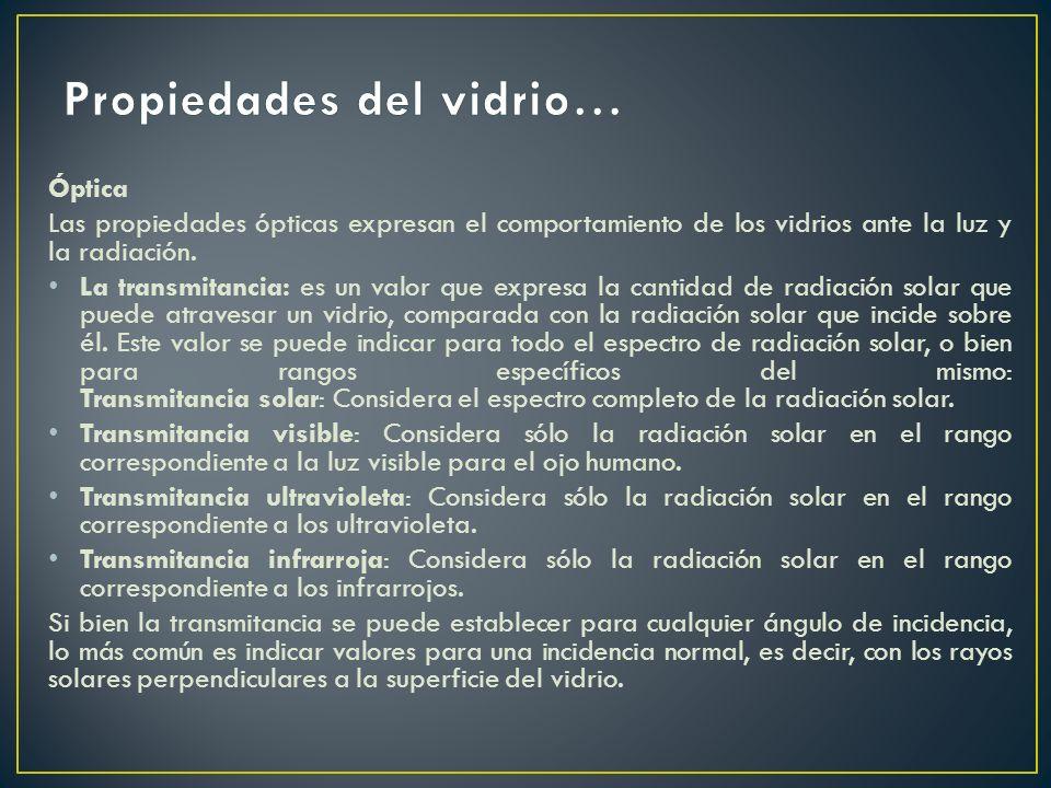 Óptica Las propiedades ópticas expresan el comportamiento de los vidrios ante la luz y la radiación. La transmitancia: es un valor que expresa la cant