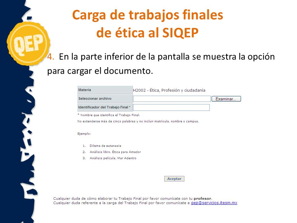 5.Cargar el documento del trabajo final Seleccionar el archivo.