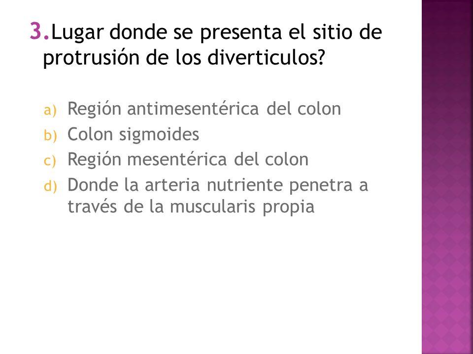 1. Porcentaje de pacientes con diverticulosis que presentan síntomas a) 50% b) 35% c) 20% d) 15%