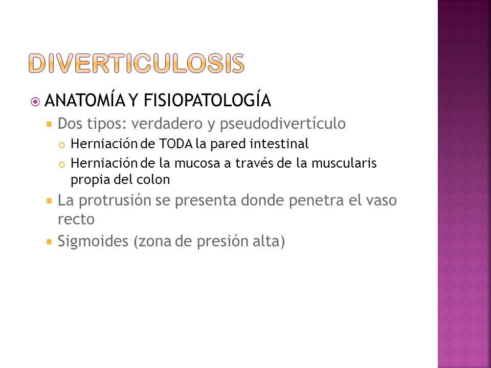 ANATOMÍA Y FISIOPATOLOGÍA Dos tipos: verdadero y pseudodivertículo Herniación de TODA la pared intestinal Herniación de la mucosa a través de la muscularis propia del colon La protrusión se presenta donde penetra el vaso recto Sigmoides (zona de presión alta)