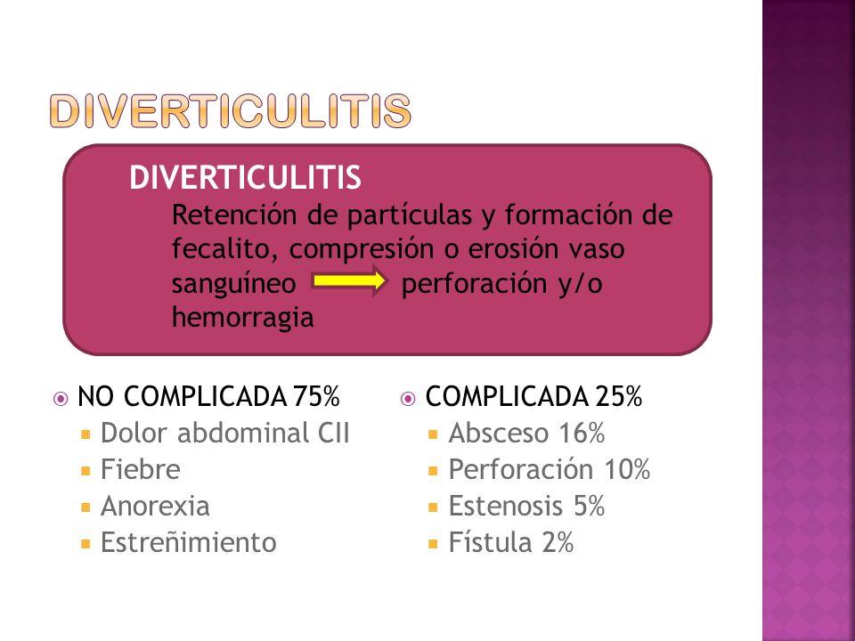 NO COMPLICADA 75% Dolor abdominal CII Fiebre Anorexia Estreñimiento COMPLICADA 25% Absceso 16% Perforación 10% Estenosis 5% Fístula 2% DIVERTICULITIS Retención de partículas y formación de fecalito, compresión o erosión vaso sanguíneo perforación y/o hemorragia