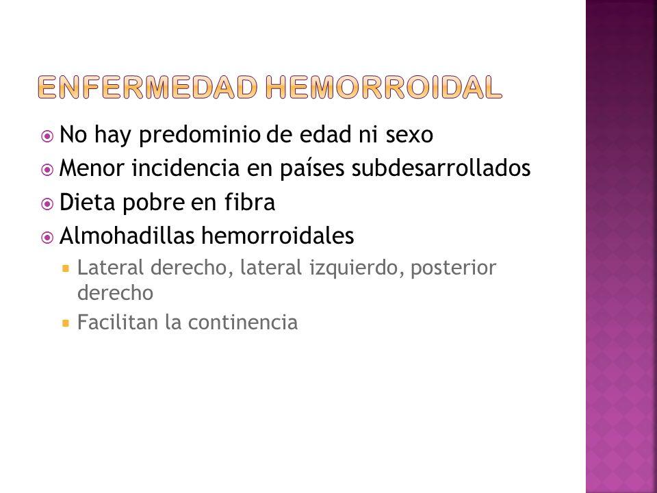 No hay predominio de edad ni sexo Menor incidencia en países subdesarrollados Dieta pobre en fibra Almohadillas hemorroidales Lateral derecho, lateral izquierdo, posterior derecho Facilitan la continencia