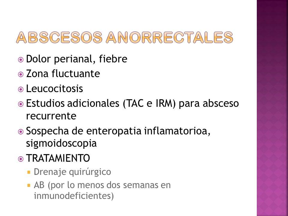 Dolor perianal, fiebre Zona fluctuante Leucocitosis Estudios adicionales (TAC e IRM) para absceso recurrente Sospecha de enteropatia inflamatorioa, sigmoidoscopia TRATAMIENTO Drenaje quirúrgico AB (por lo menos dos semanas en inmunodeficientes)