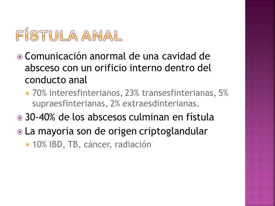 Comunicación anormal de una cavidad de absceso con un orificio interno dentro del conducto anal 70% interesfinterianos, 23% transesfinterianas, 5% supraesfinterianas, 2% extraesdinterianas.