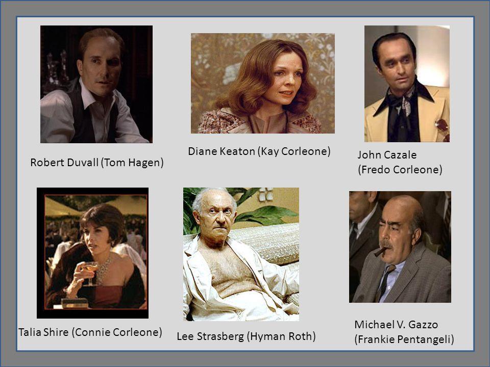Robert Duvall (Tom Hagen) Diane Keaton (Kay Corleone) John Cazale (Fredo Corleone) Talia Shire (Connie Corleone) Lee Strasberg (Hyman Roth) Michael V.