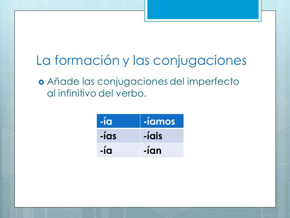 La formación y las conjugaciones Añade las conjugaciones del imperfecto al infinitivo del verbo. -ía-íamos -ías-íais -ía-ían