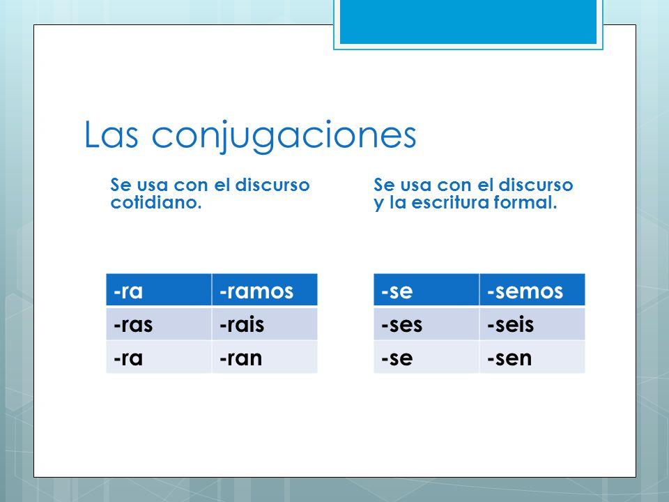 Las conjugaciones Se usa con el discurso cotidiano. -ra-ramos -ras-rais -ra-ran Se usa con el discurso y la escritura formal. -se-semos -ses-seis -se-