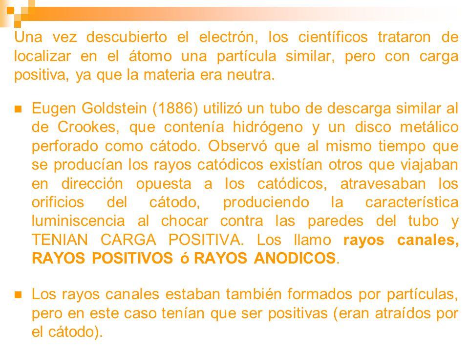 Una vez descubierto el electrón, los científicos trataron de localizar en el átomo una partícula similar, pero con carga positiva, ya que la materia e