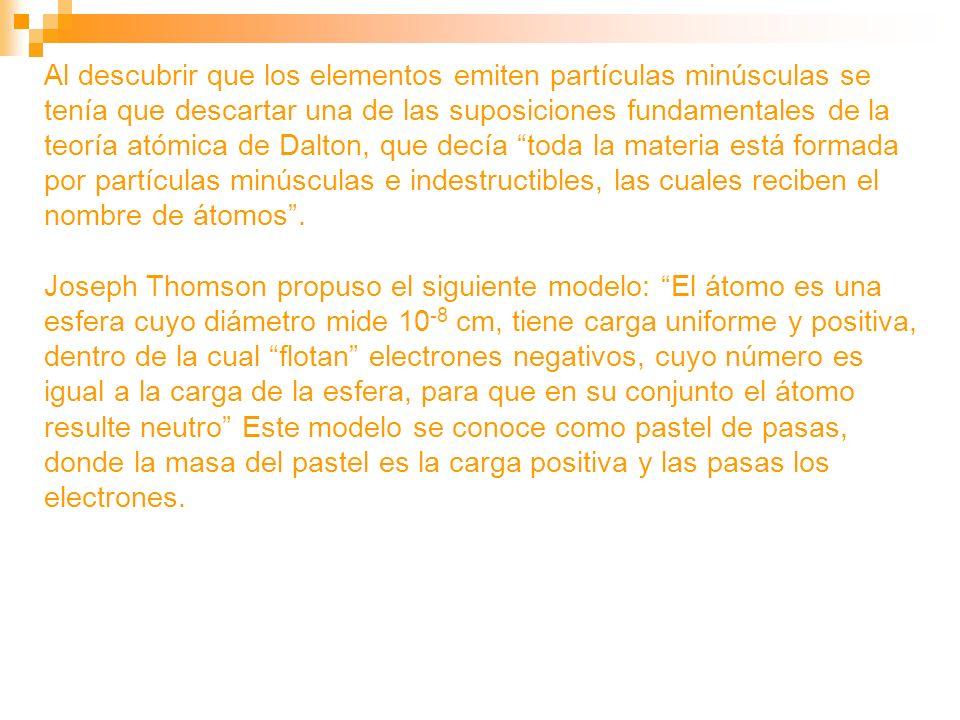 Al descubrir que los elementos emiten partículas minúsculas se tenía que descartar una de las suposiciones fundamentales de la teoría atómica de Dalto