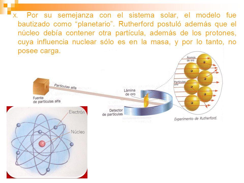 X. Por su semejanza con el sistema solar, el modelo fue bautizado como planetario. Rutherford postuló además que el núcleo debía contener otra partícu