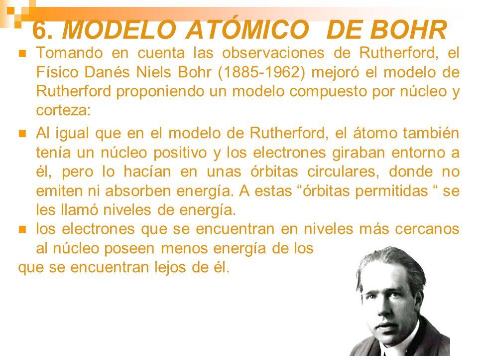6. MODELO ATÓMICO DE BOHR Tomando en cuenta las observaciones de Rutherford, el Físico Danés Niels Bohr (1885-1962) mejoró el modelo de Rutherford pro