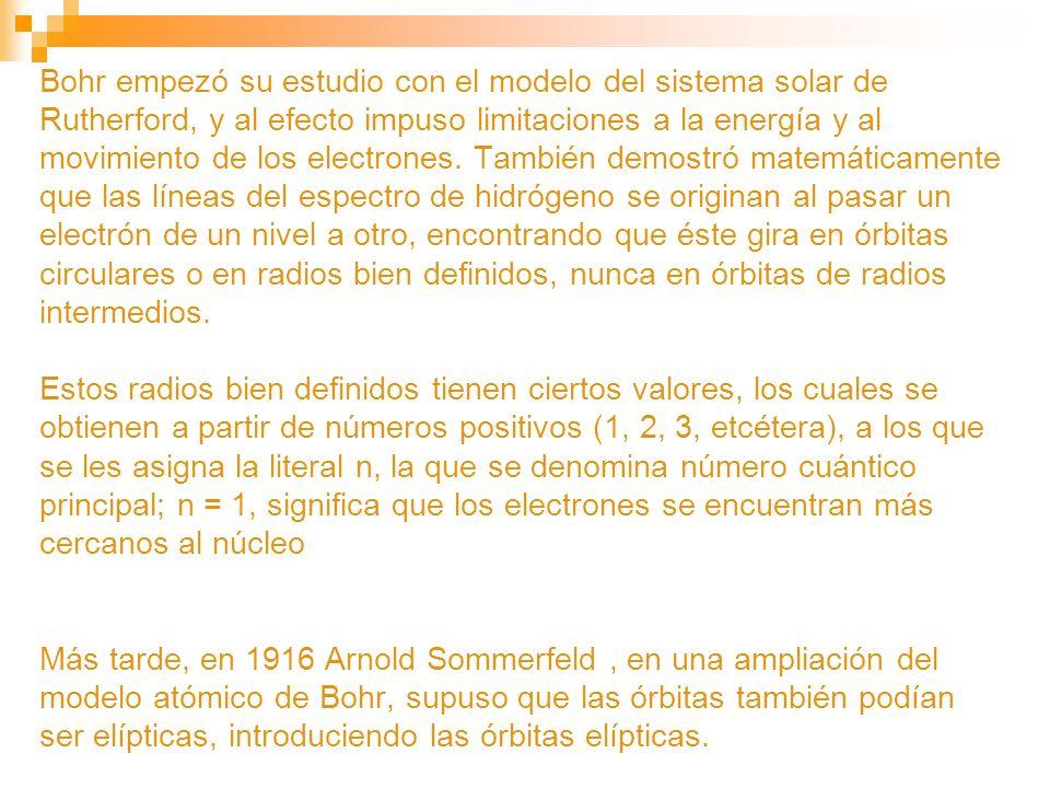 Bohr empezó su estudio con el modelo del sistema solar de Rutherford, y al efecto impuso limitaciones a la energía y al movimiento de los electrones.