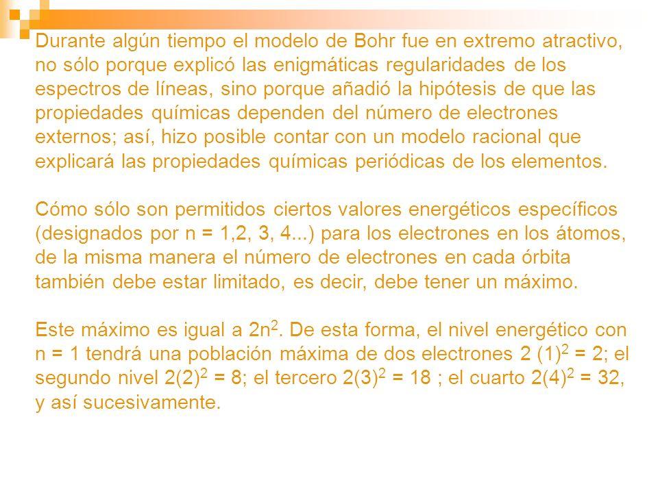 Durante algún tiempo el modelo de Bohr fue en extremo atractivo, no sólo porque explicó las enigmáticas regularidades de los espectros de líneas, sino