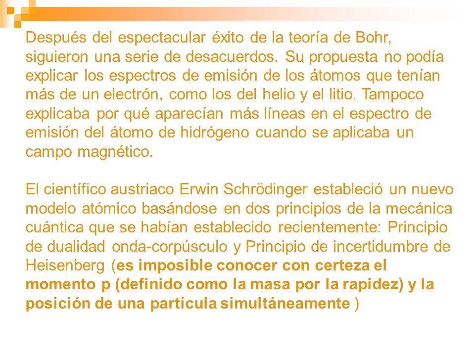 Después del espectacular éxito de la teoría de Bohr, siguieron una serie de desacuerdos. Su propuesta no podía explicar los espectros de emisión de lo