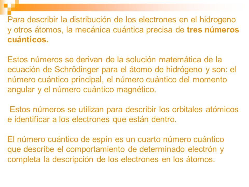 Para describir la distribución de los electrones en el hidrogeno y otros átomos, la mecánica cuántica precisa de tres números cuánticos. Estos números