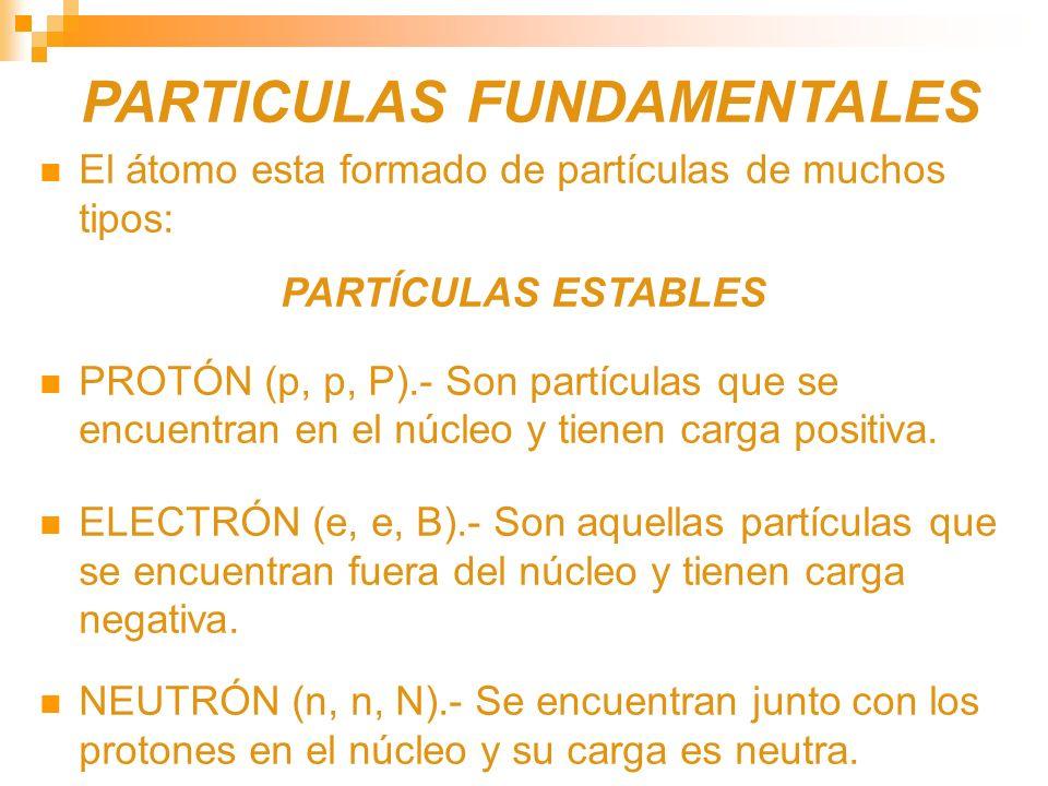PARTICULAS FUNDAMENTALES El átomo esta formado de partículas de muchos tipos: PARTÍCULAS ESTABLES PROTÓN (p, p, P).- Son partículas que se encuentran