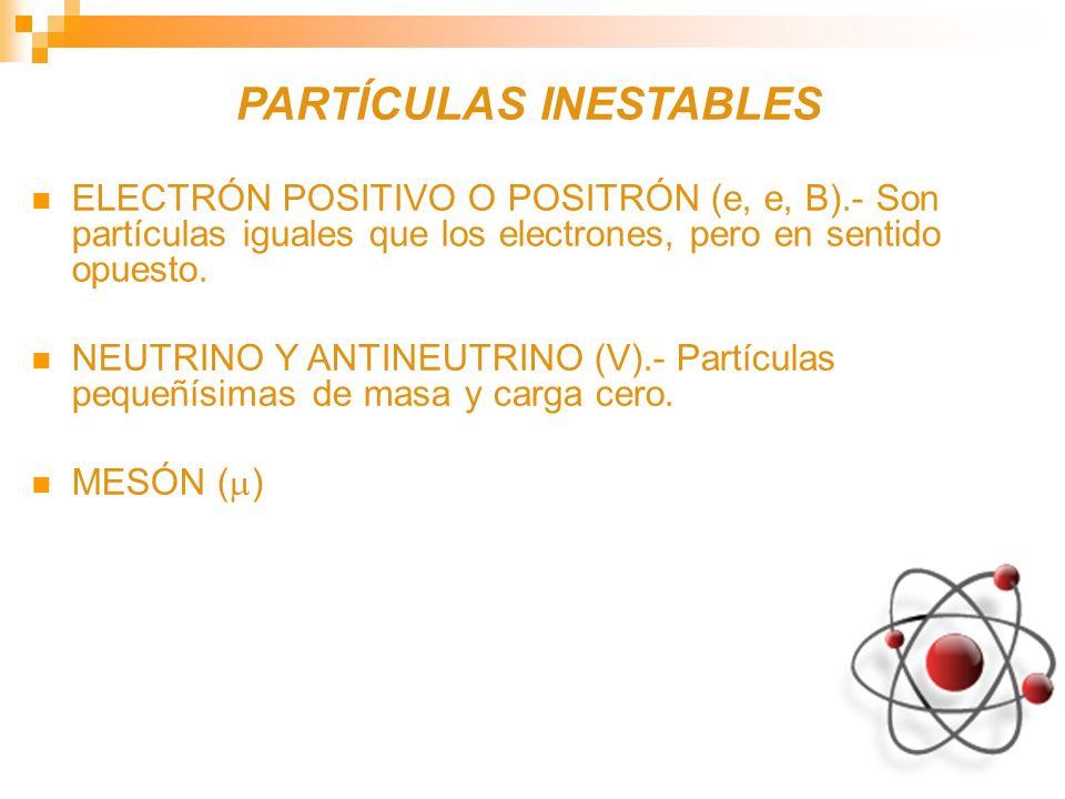 PARTÍCULAS INESTABLES ELECTRÓN POSITIVO O POSITRÓN (e, e, B).- Son partículas iguales que los electrones, pero en sentido opuesto. NEUTRINO Y ANTINEUT