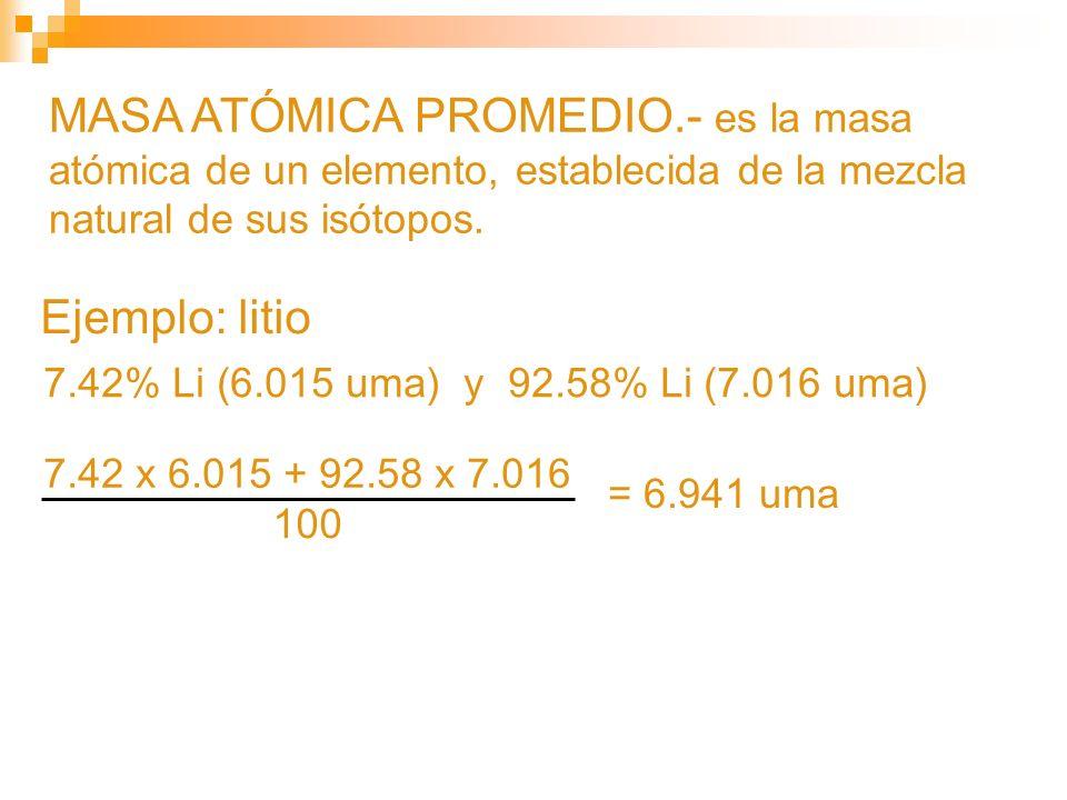 MASA ATÓMICA PROMEDIO.- es la masa atómica de un elemento, establecida de la mezcla natural de sus isótopos. 7.42% Li (6.015 uma) y 92.58% Li (7.016 u