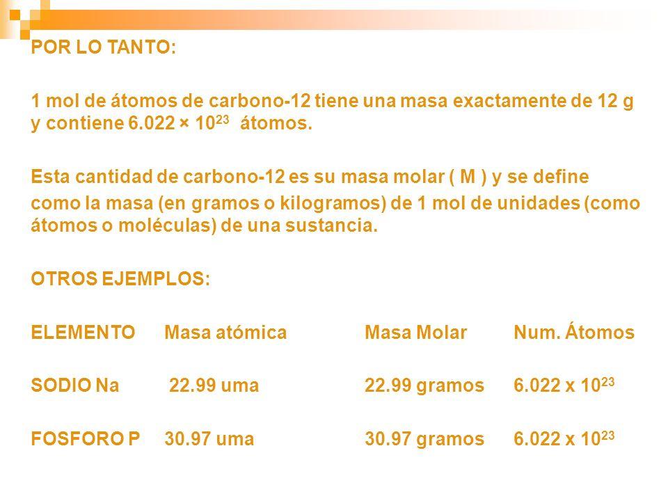 POR LO TANTO: 1 mol de átomos de carbono-12 tiene una masa exactamente de 12 g y contiene 6.022 × 10 23 átomos. Esta cantidad de carbono-12 es su masa