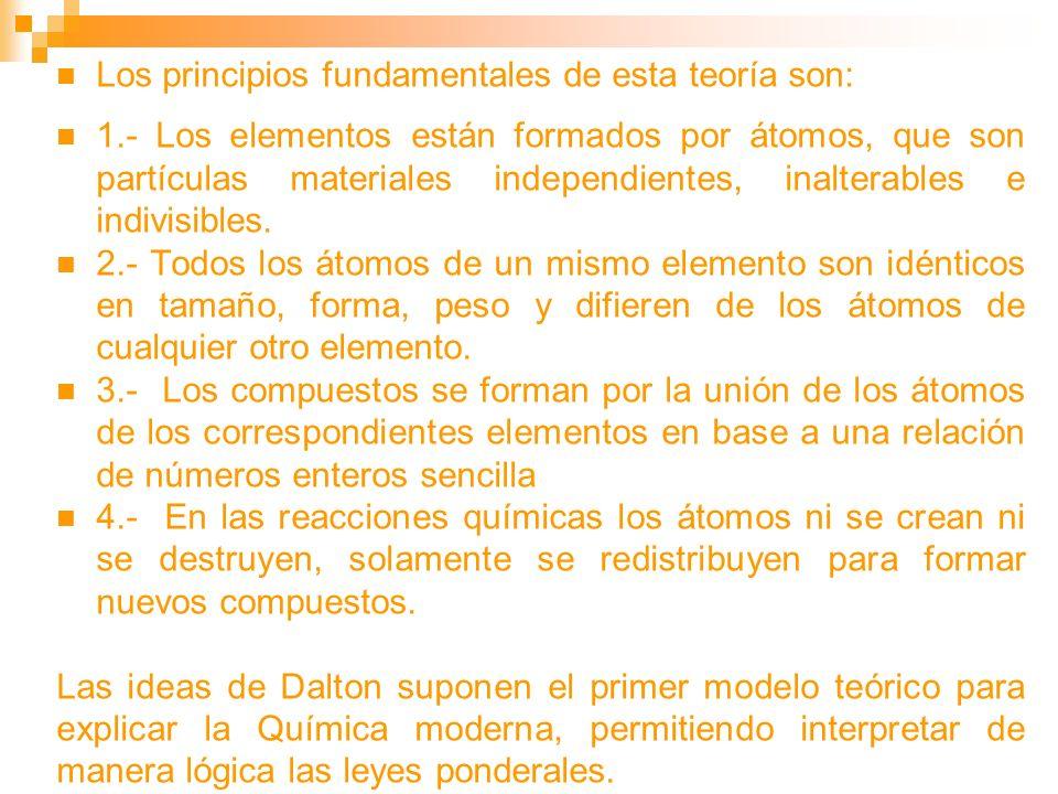 Los principios fundamentales de esta teoría son: 1.- Los elementos están formados por átomos, que son partículas materiales independientes, inalterabl
