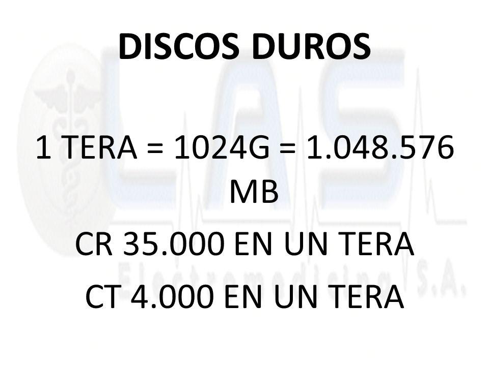 DISCOS DUROS 1 TERA = 1024G = 1.048.576 MB CR 35.000 EN UN TERA CT 4.000 EN UN TERA