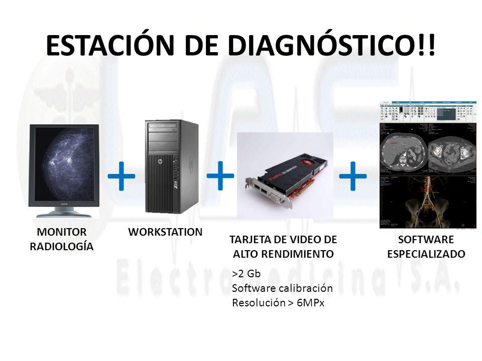 ESTACIÓN DE DIAGNÓSTICO!! MONITOR RADIOLOGÍA SOFTWARE ESPECIALIZADO TARJETA DE VIDEO DE ALTO RENDIMIENTO ++ >2 Gb Software calibración Resolución > 6M