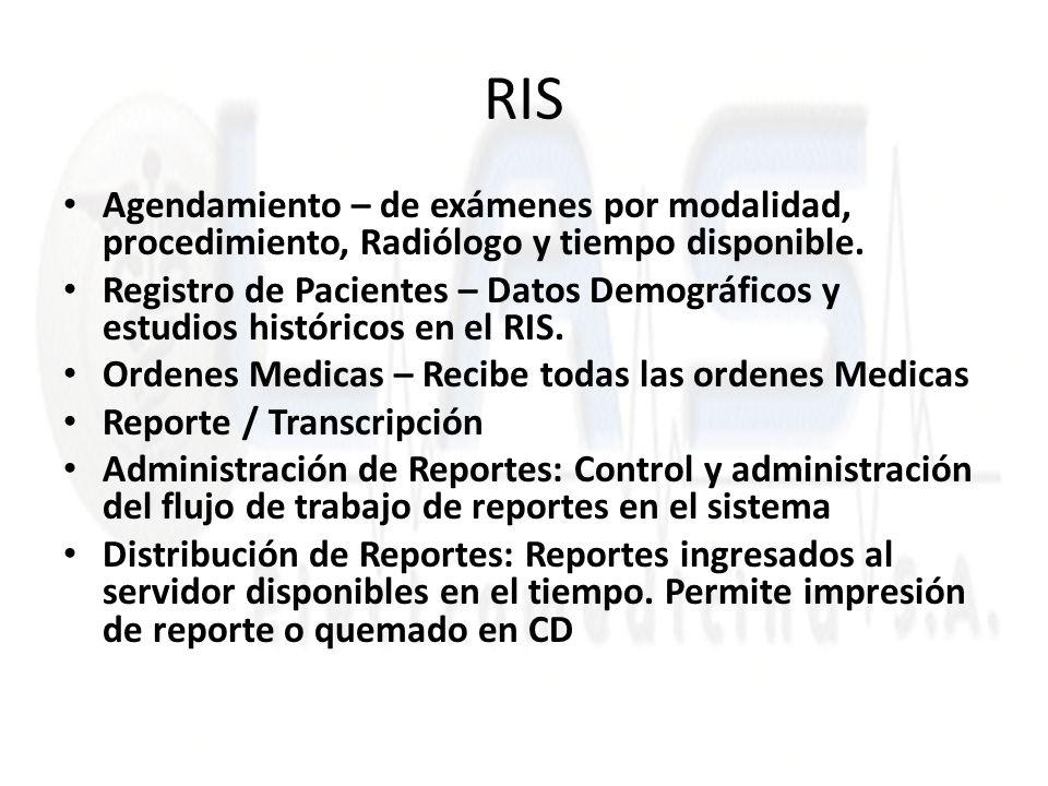 Agendamiento – de exámenes por modalidad, procedimiento, Radiólogo y tiempo disponible. Registro de Pacientes – Datos Demográficos y estudios históric